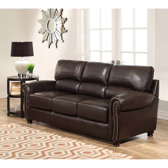 Tuscany 3 piece top grain leather living room set for Costco leather living room sets