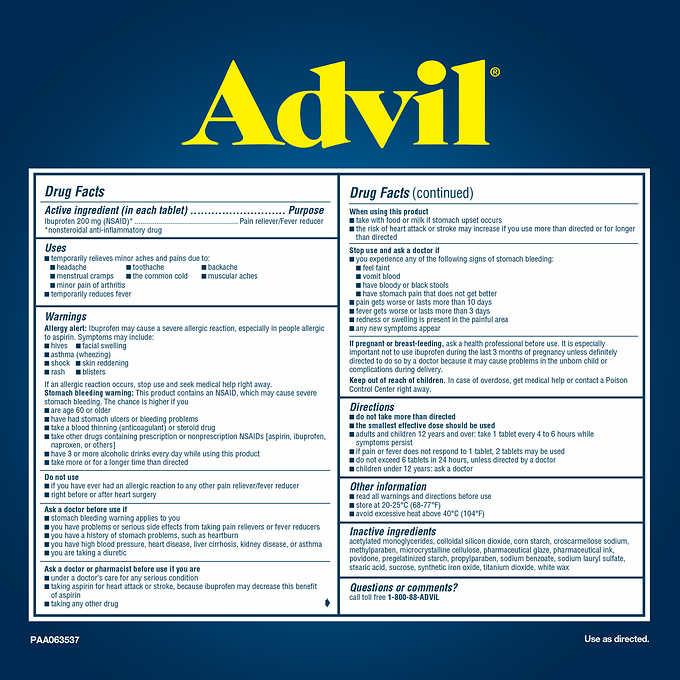 Advil Ibuprofen 200 Mg 360 Tablets