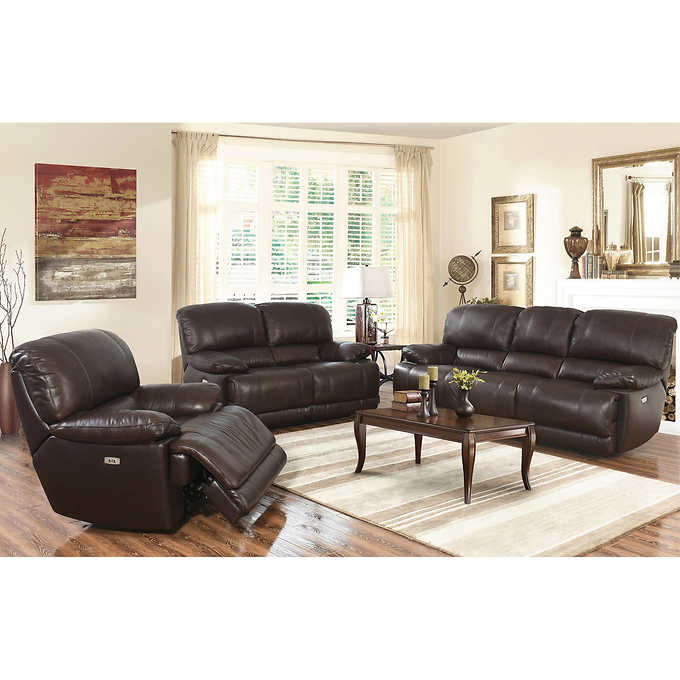 3 piece reclining living room set arleta 3 top grain leather power reclining living 23988