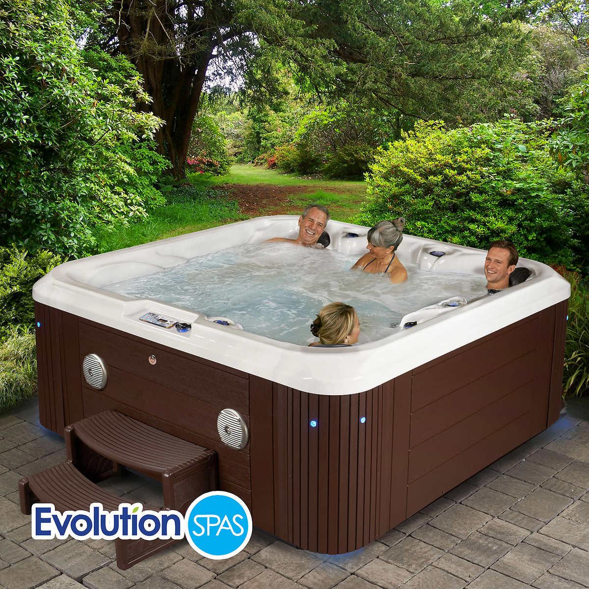 Evolution spas hampton 90 jet 6 person spa accommodates for Hot tub and sauna